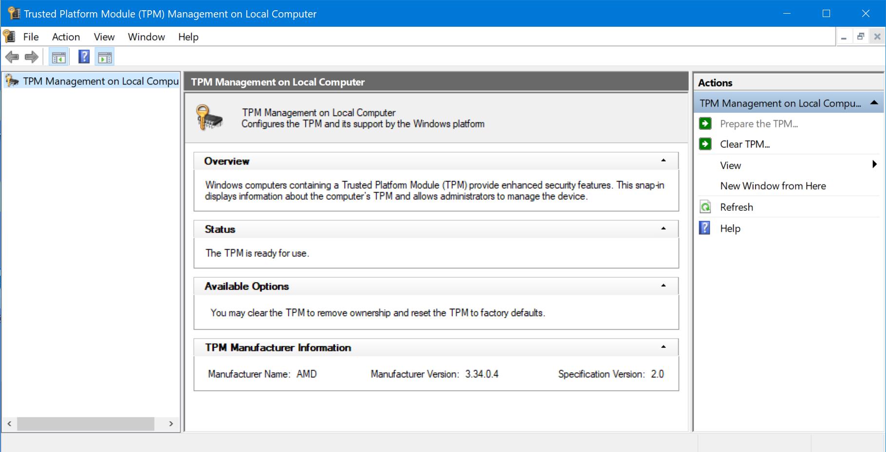 Check TPM in Windows
