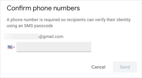 Choose SMS Code Option