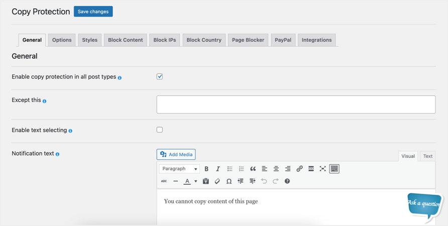 Content Protection Plugin