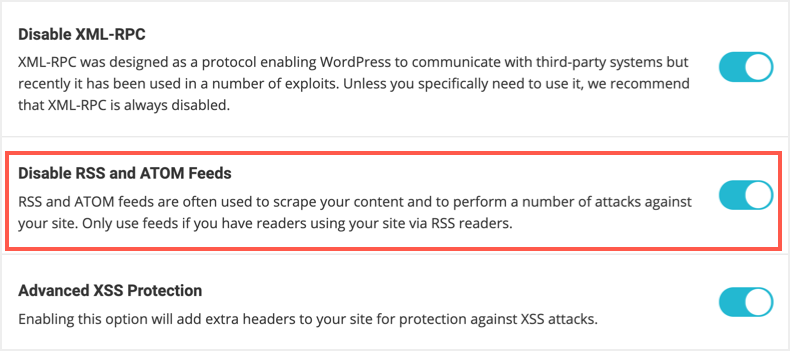 Disable RSS and ATOM Feeds in SG Security