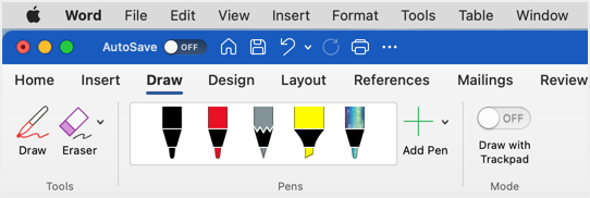 Draw Tools in Word for Mac