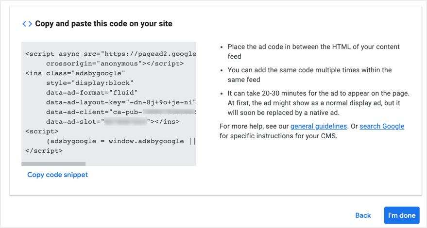 Get In-feed Ad Code