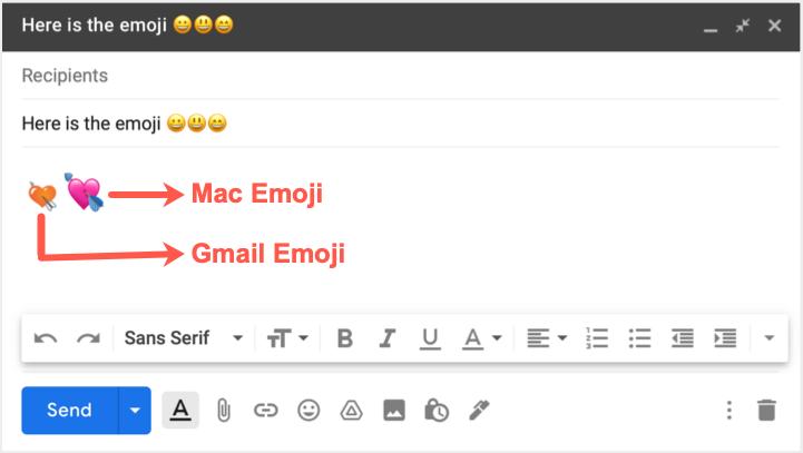 Gmail Default and Mac Emoji