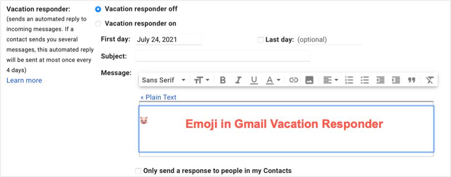 Insert Emoji in Auto Vacation Responder