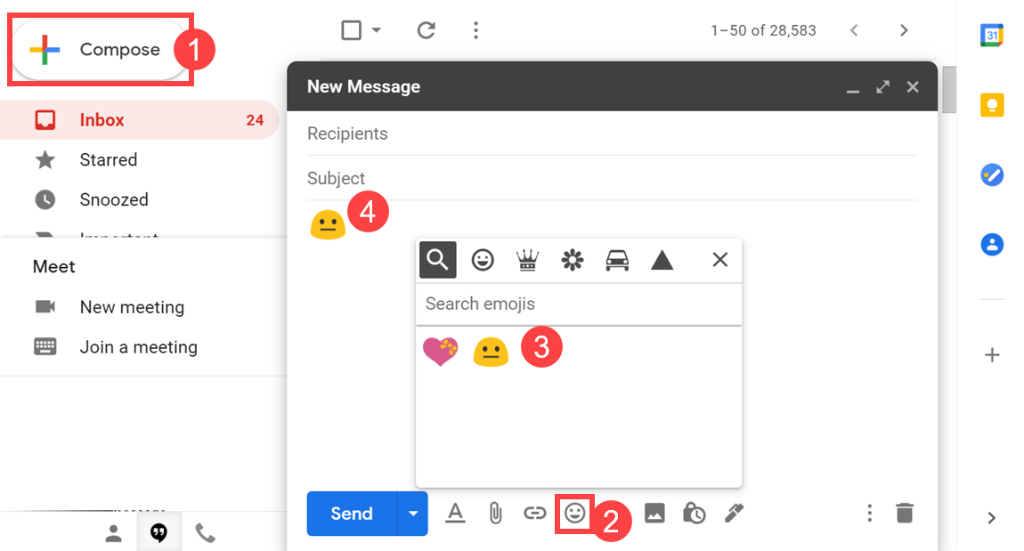 Insert Emoji in Gmail Web Interface