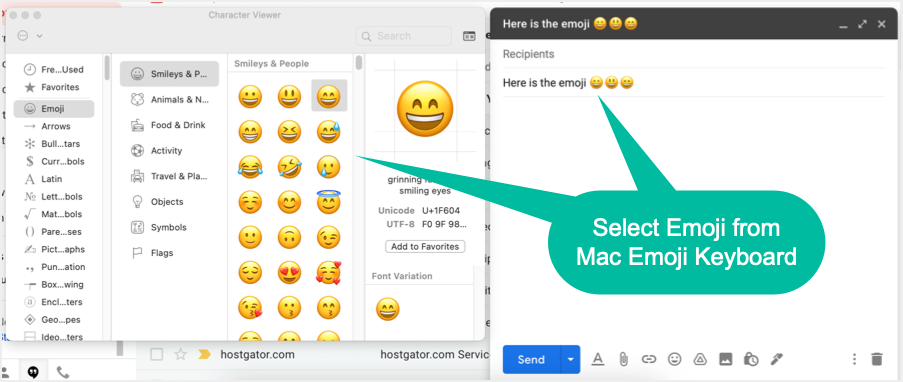 Insert Emoji in Gmail with Mac Character Viewer