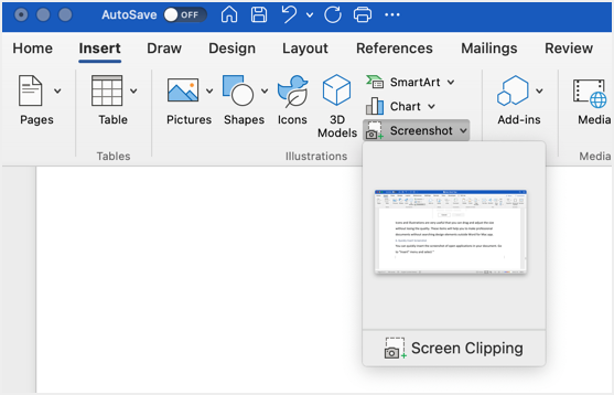 Insert Screen Clipping in Word for Mac