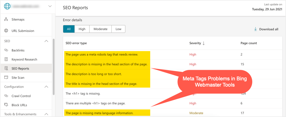 Meta Tags Problems in Bing Webmaster Tools