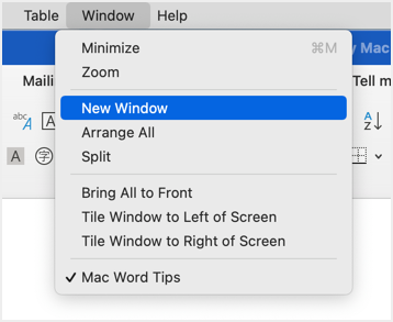 New Window in Word for Mac