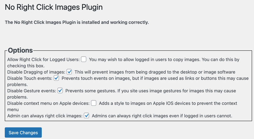 No Right Click Images Plugin Settings