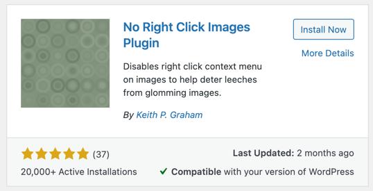 No Right Click Images Plugin