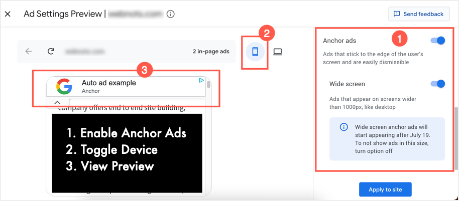 Preview Anchor Ads in Mobile