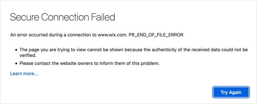 Secure Connection Failed Error