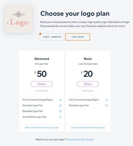 Wix Logo Purchase Plans