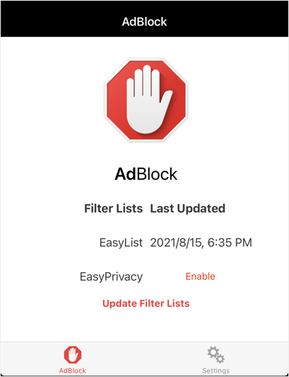 AdBlock Filter List Status