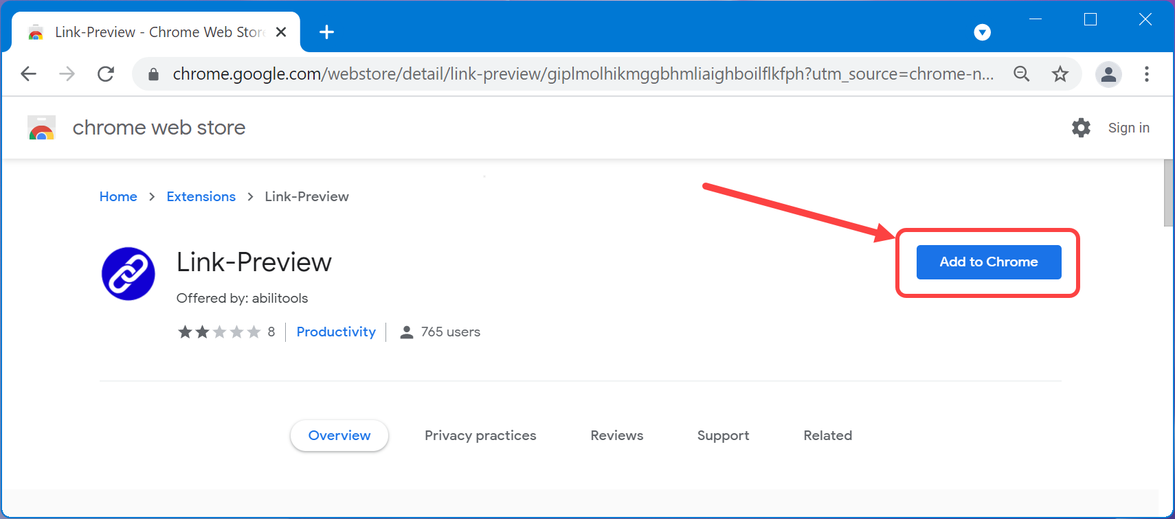 Add Link Preview Extension in Chrome