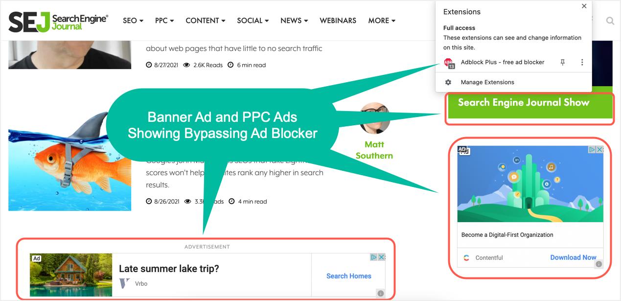 Ads Showing Through Ad Blocker