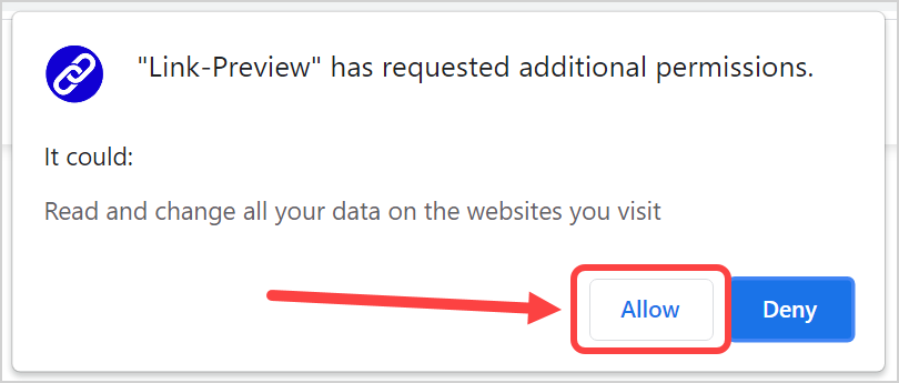 Allow Permissions for Extension