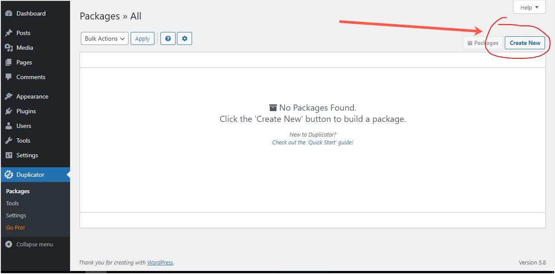 Backup WordPress Site with Duplicator