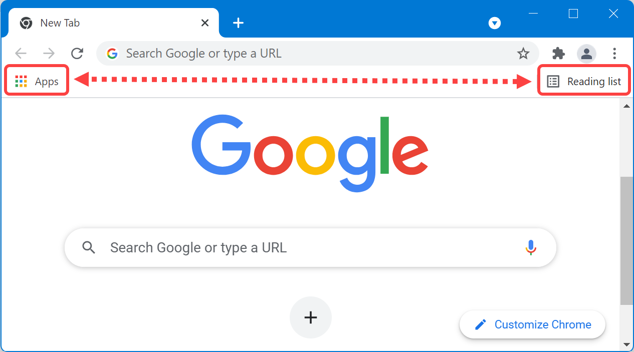 Chrome Apps and Reading List in Bookmarks Bar