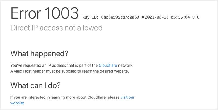 Ошибка Cloudflare CDN