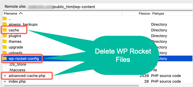 Delete WP Rocket Files