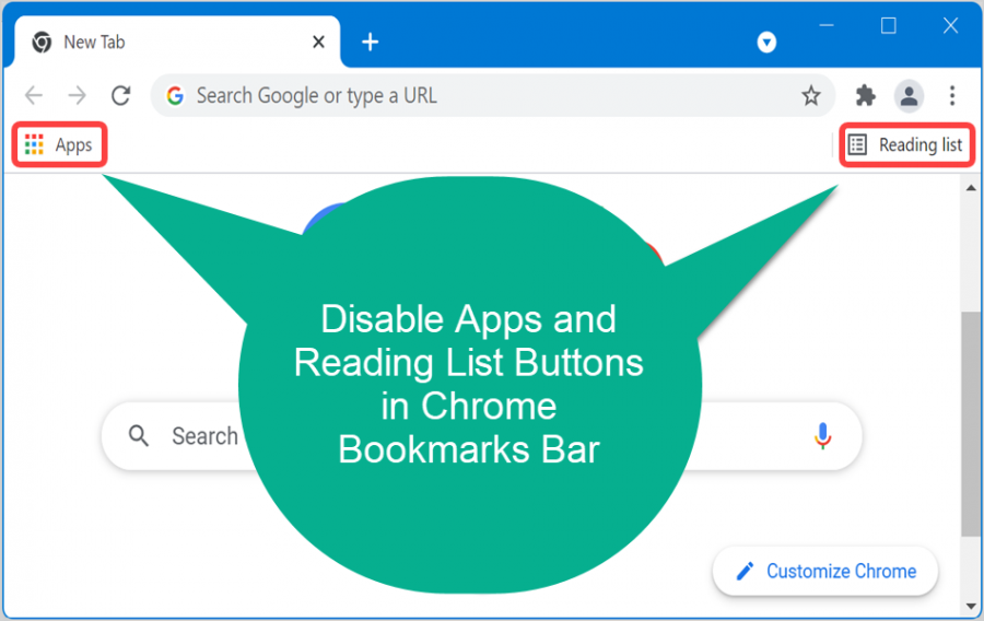 Disable Apps and Reading List in Chrome