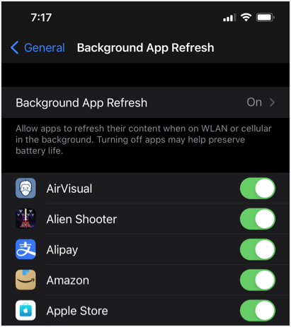 Disable Background App Refresh in iPhone