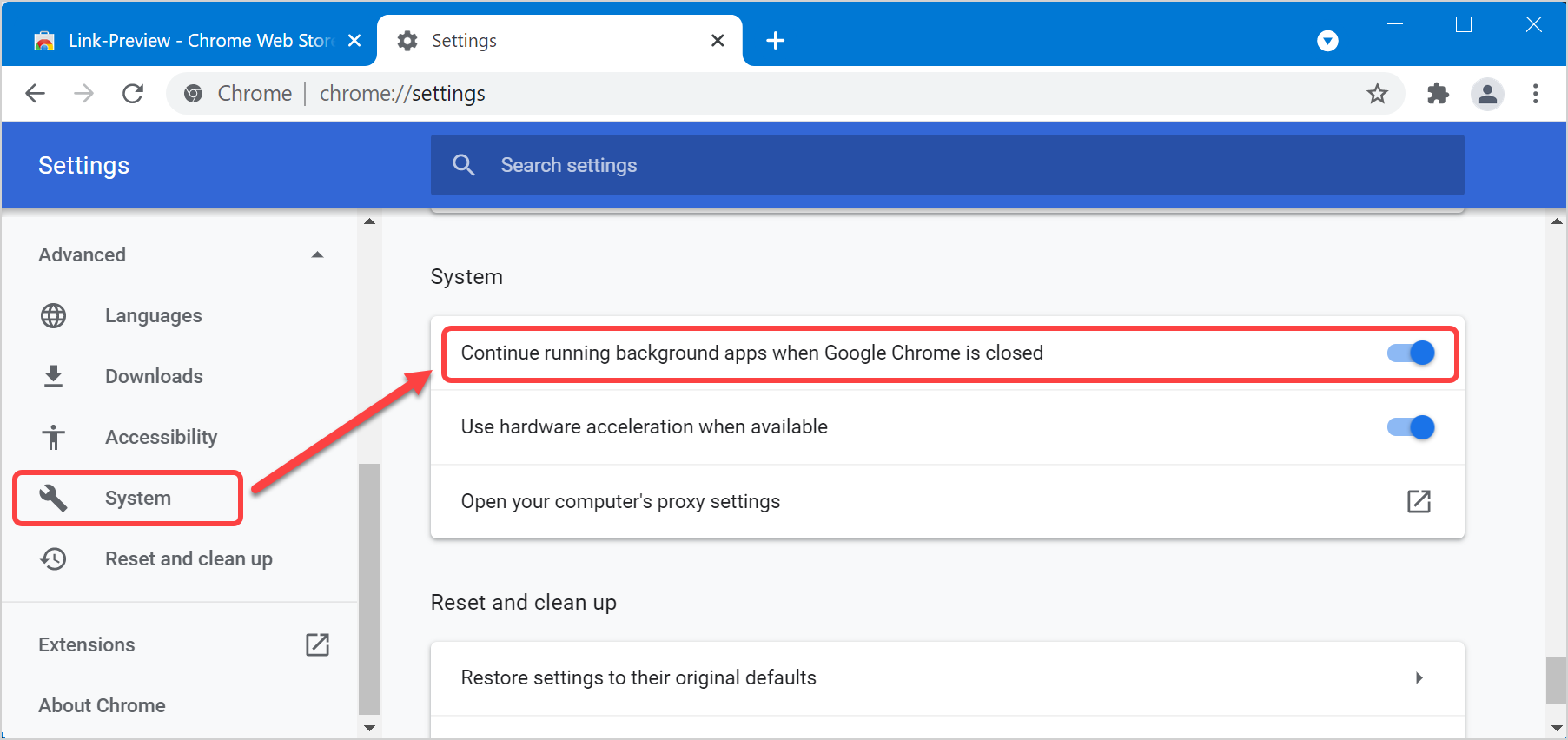 Disable Chrome Running in Background in Windows