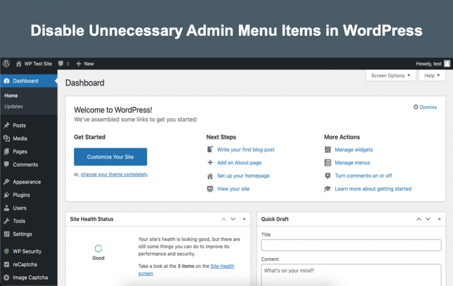 Disable Unnecessary Admin Menu Items in WordPress