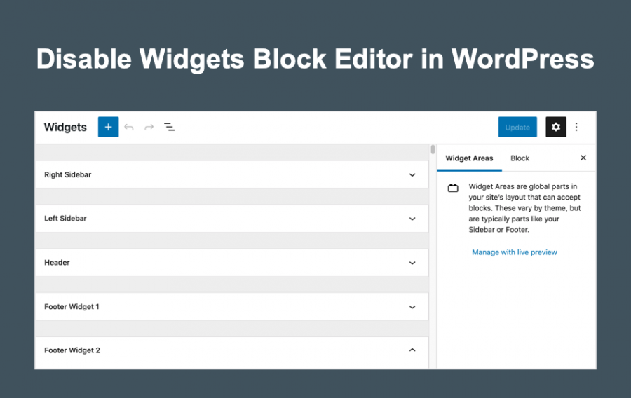 Disable Widgets Block Editor in WordPress