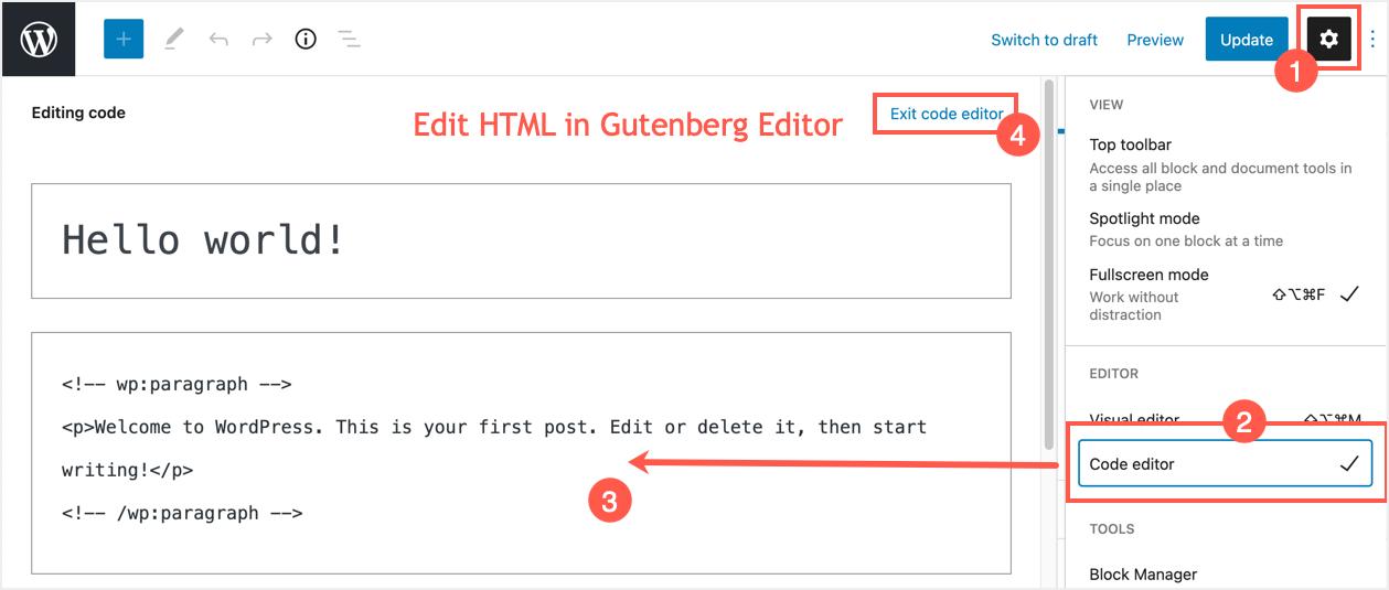Edit HTML in Gutenberg Editor