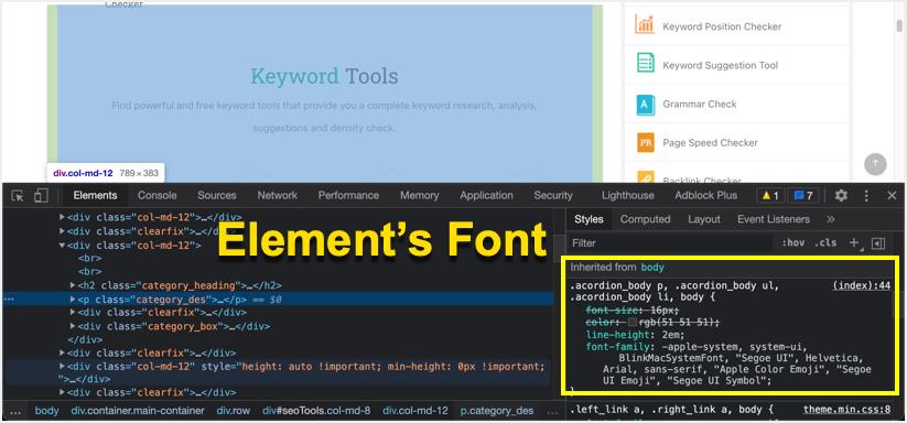 Find Element Font