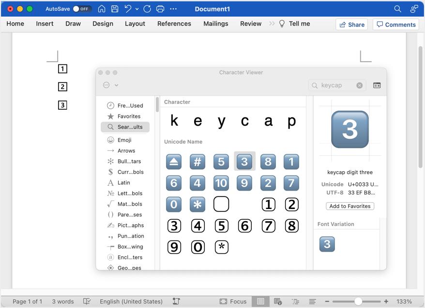 Keycap Emoji in Word for Mac