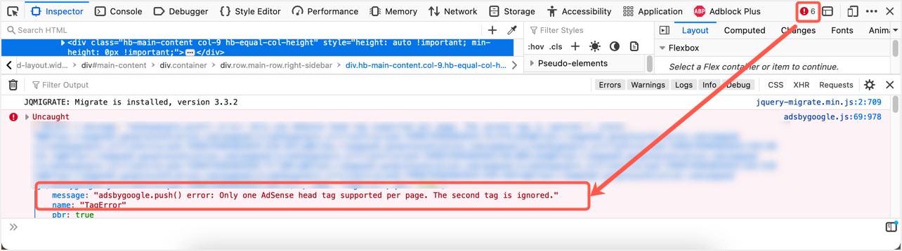 More Than One AdSense Header Tag Error