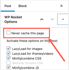 Never Cache Specific Page
