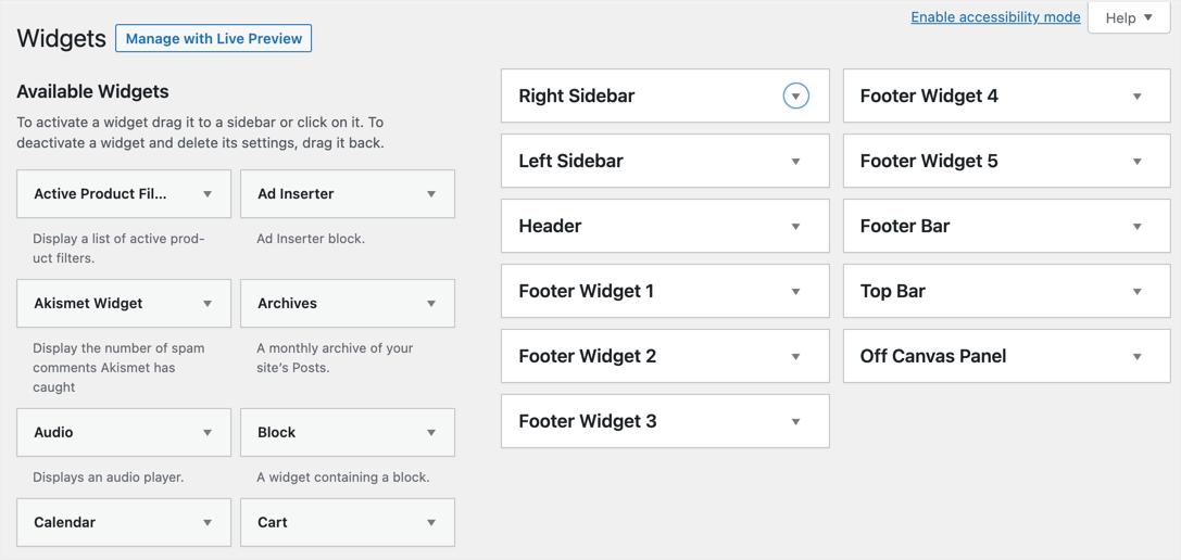 Old Widgets Area in WordPress