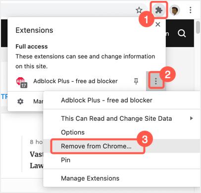 Remove Ad Blocker Extension