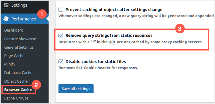 Remove Query Strings in W3 Total Cache