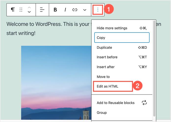 Select Edit as HTML