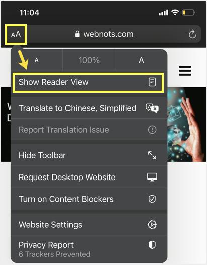Show Reader View in Safari iPhone