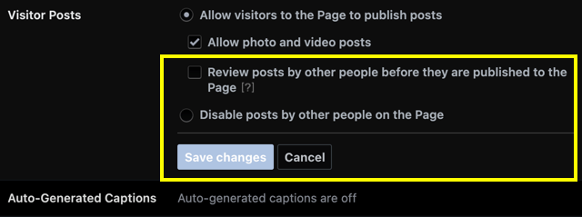 Visitor Posts Settings