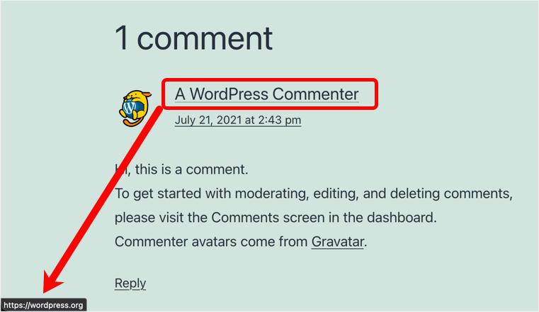Веб-сайт, связанный с именем автора комментария