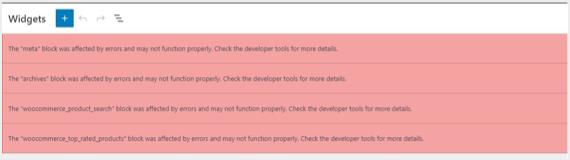 Widgets Error in New Editor