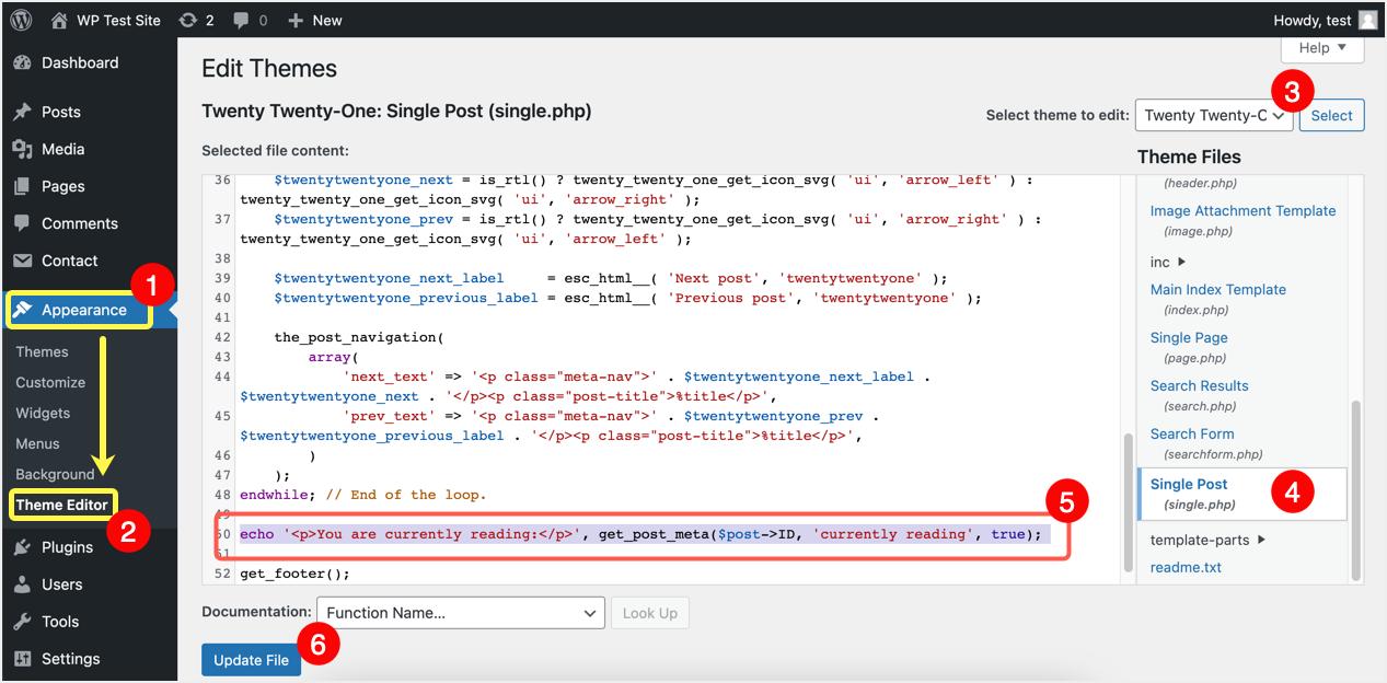 Add Custom Fields Display Code in Posts