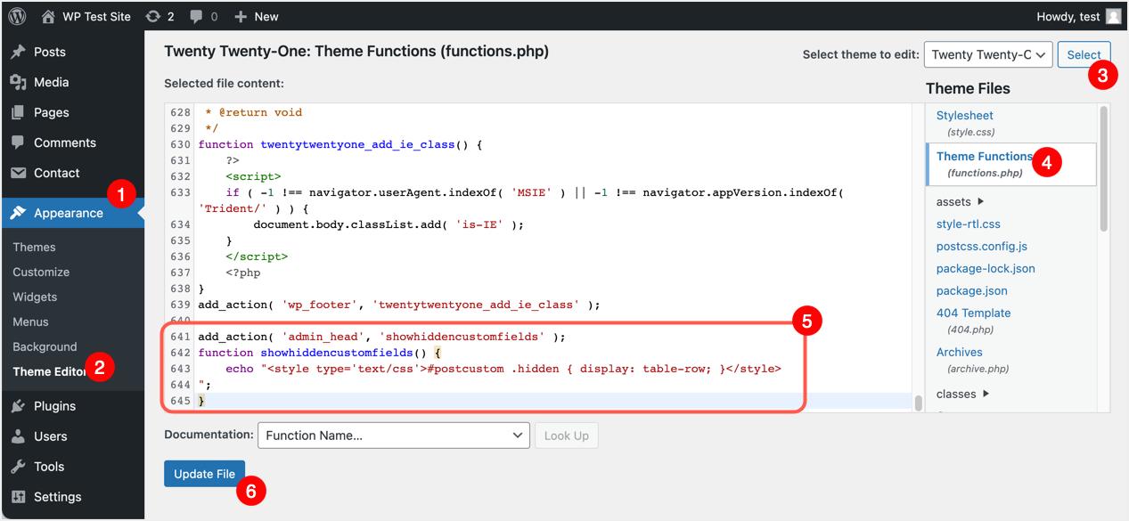 Add Function to View Hidden Custom Fields