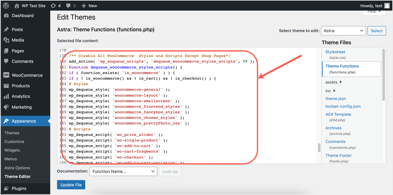 Add Functions to Remove WooCommerce Resources