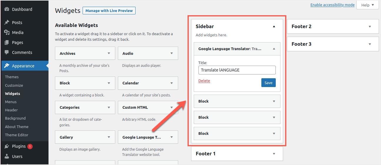 Add Google Language Translator Widget