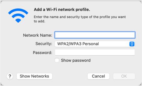 Add New Wi-Fi Network Profile
