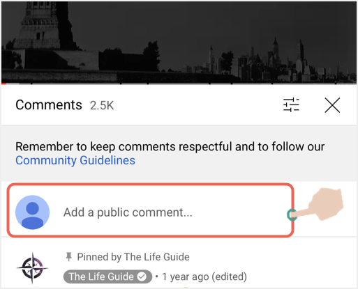Add a Public Comment in Mobile YouTube